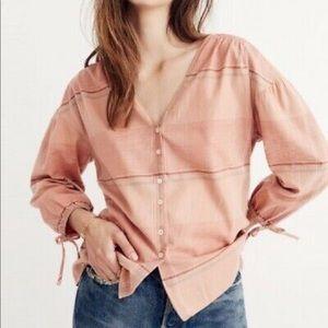 Madewell Morningview Tiesleeve Top Flannel